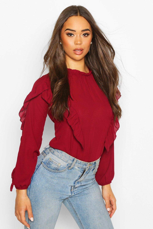 Womens Ruffle Detail High Neck Blouse - berry - 32, Berry - Boohoo.com