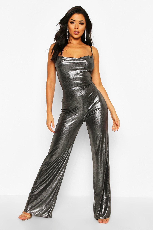 boohoo Womens Shimmer Cowl Neck Jumpsuit - Black - 12, Black