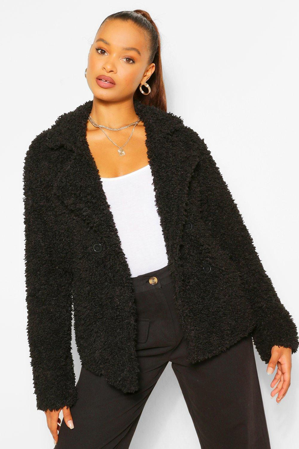 boohoo Womens Double Breasted Faux Fur Teddy Coat - Black - 16, Black