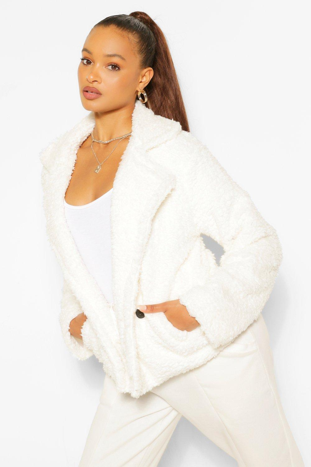 SALE Double Breasted Faux Fur Teddy Coat