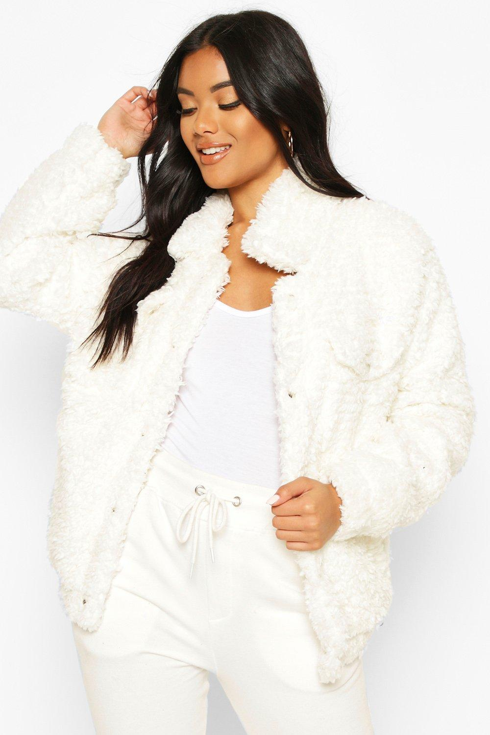 boohoo Womens Faux Fur Teddy Trucker - White - 10, White