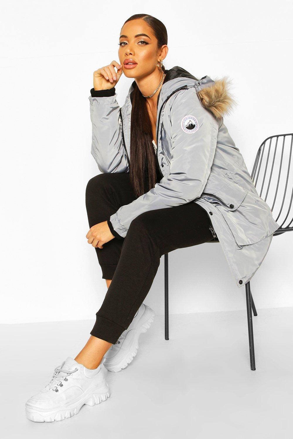 boohoo Womens Oversized Faux Fur Trim Sporty Parka - Grey - 10, Grey
