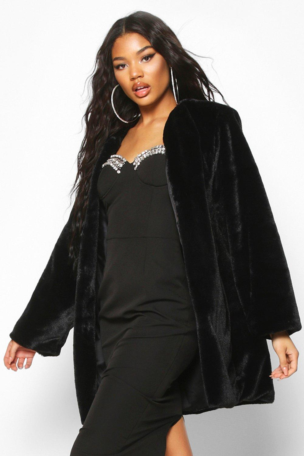 boohoo Womens Collarless Faux Fur Coat - Black - 12, Black