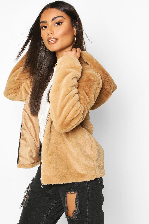 Faux Fur Coats Hooded Faux Fur Coat