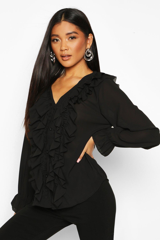 Womens Ruffle Woven Blouse - black - S, Black - Boohoo.com