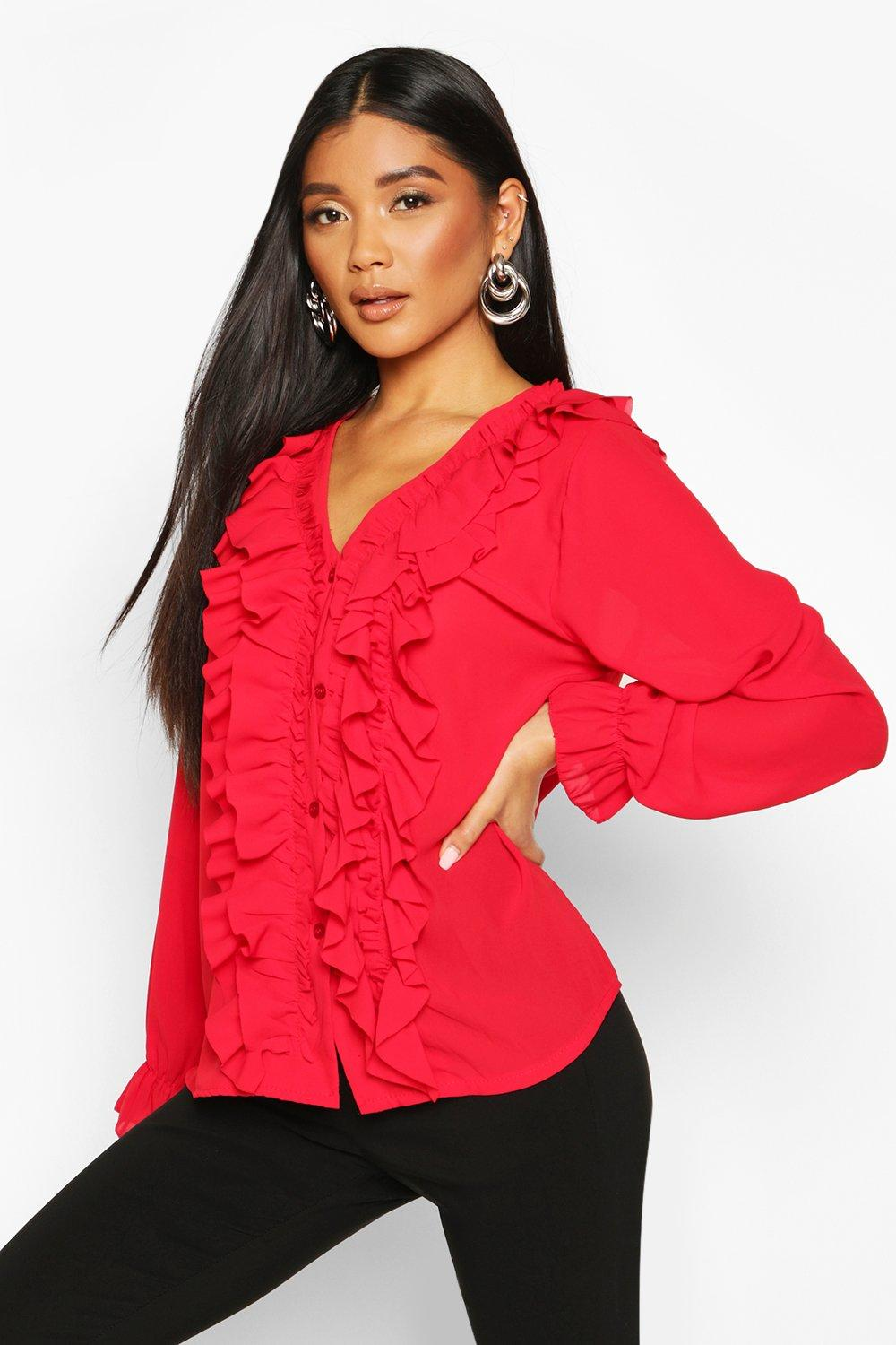 Womens Ruffle Woven Blouse - red - S, Red - Boohoo.com