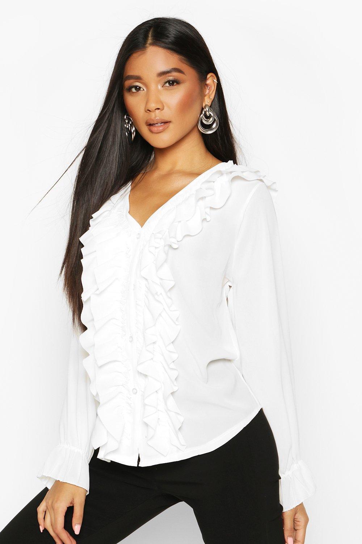 Womens Ruffle Woven Blouse - white - S, White - Boohoo.com