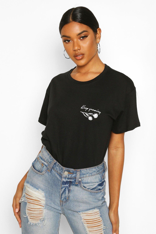 Womens Plus T-Shirt mit Slogan Rose und Tasche - schwarz - S, Schwarz - Boohoo.com