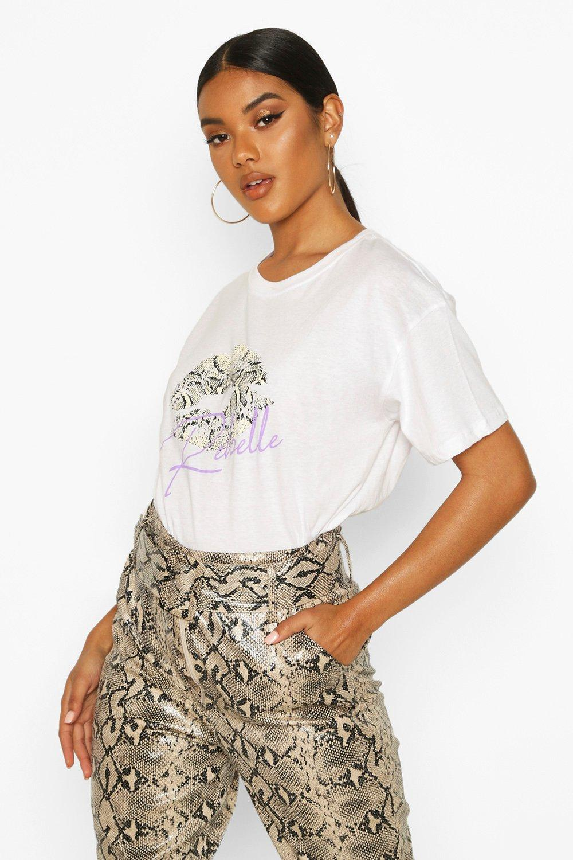 Womens Snake Ups Slogan T-Shirt - white - S, White - Boohoo.com