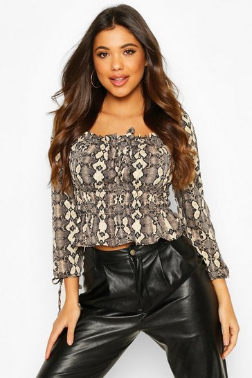 Snake Square Neck Long Sleeve Top With Tie Detail Sleeve