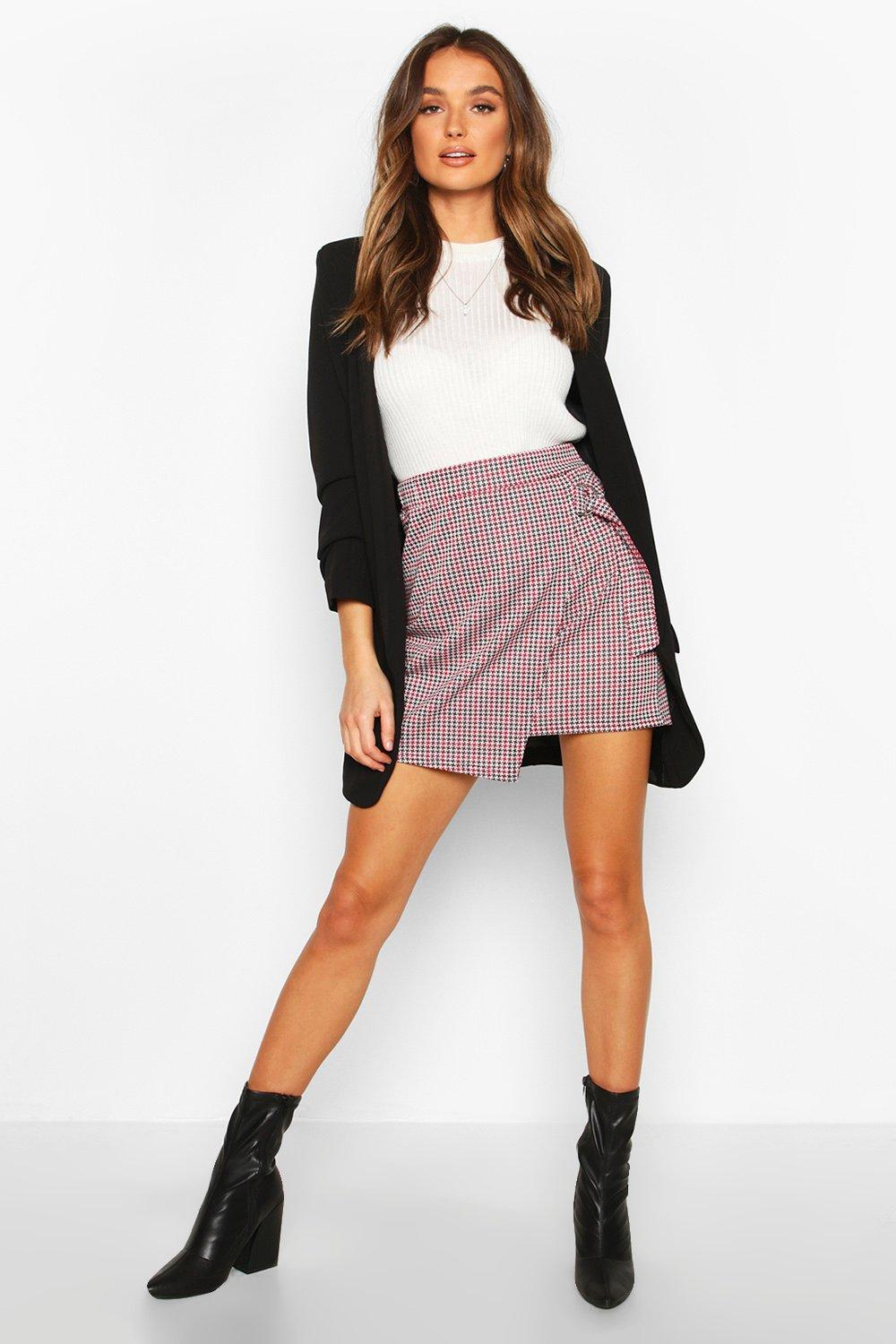SALE Jacquard Check Skirt With D Ring