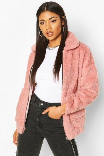 Blush Faux Fur Teddy Trucker Jacket