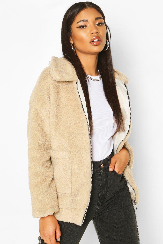 SALE Faux Fur Teddy Trucker Jacket