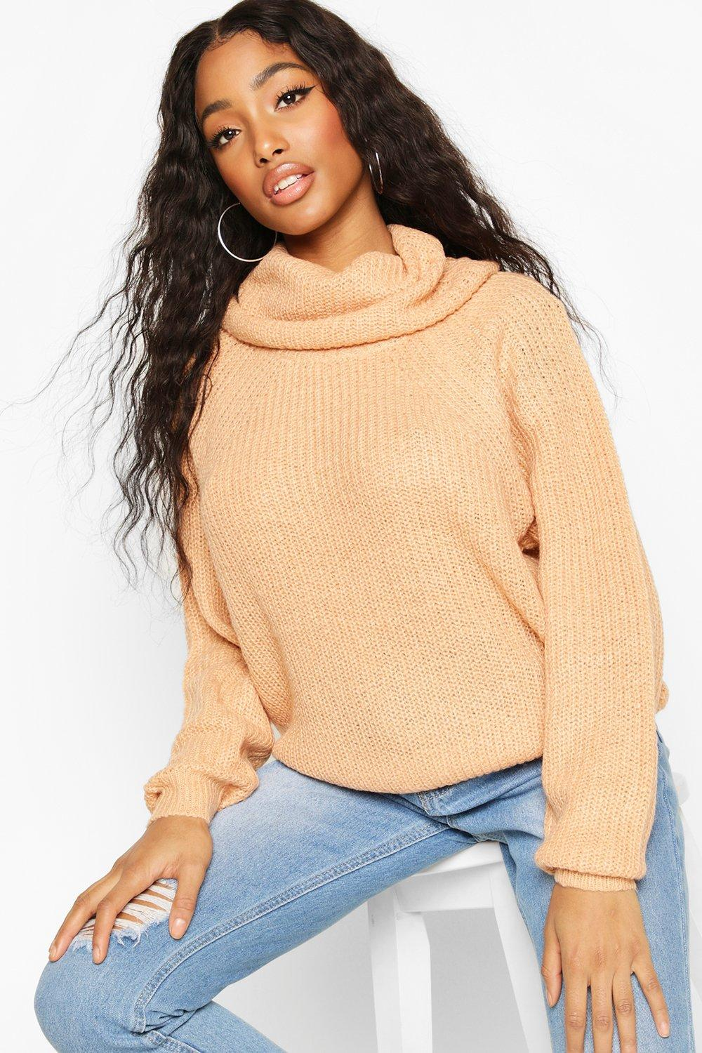 Womens Cowl Roll Neck Oversized Jumper - camel - S, Camel - Boohoo.com