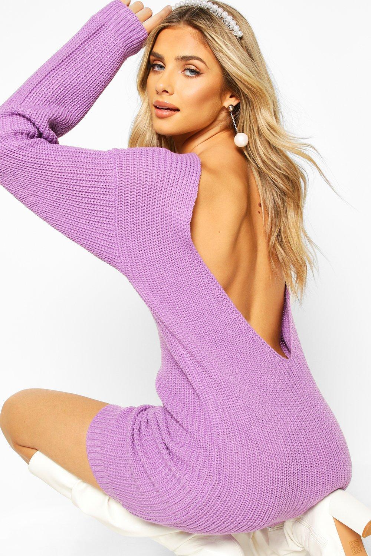 Sale Knitwear V Back Fisherman Oversized Dress