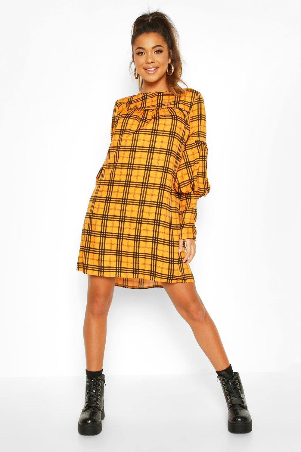 boohoo Womens Volume Sleeve Smock Dress - Yellow - 12, Yellow