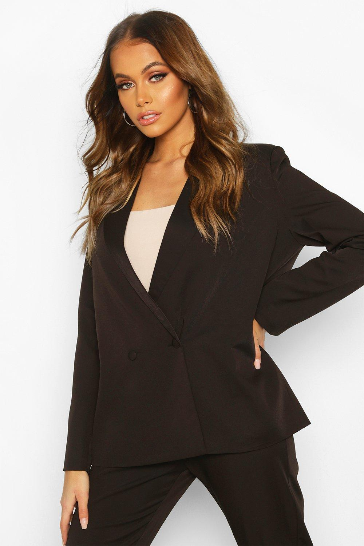 boohoo Womens Premium Double Breasted Blazer - Black - 14, Black