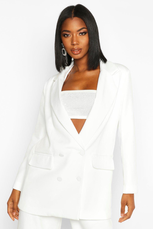 boohoo Womens Premium Double Breasted Blazer - White - 12, White
