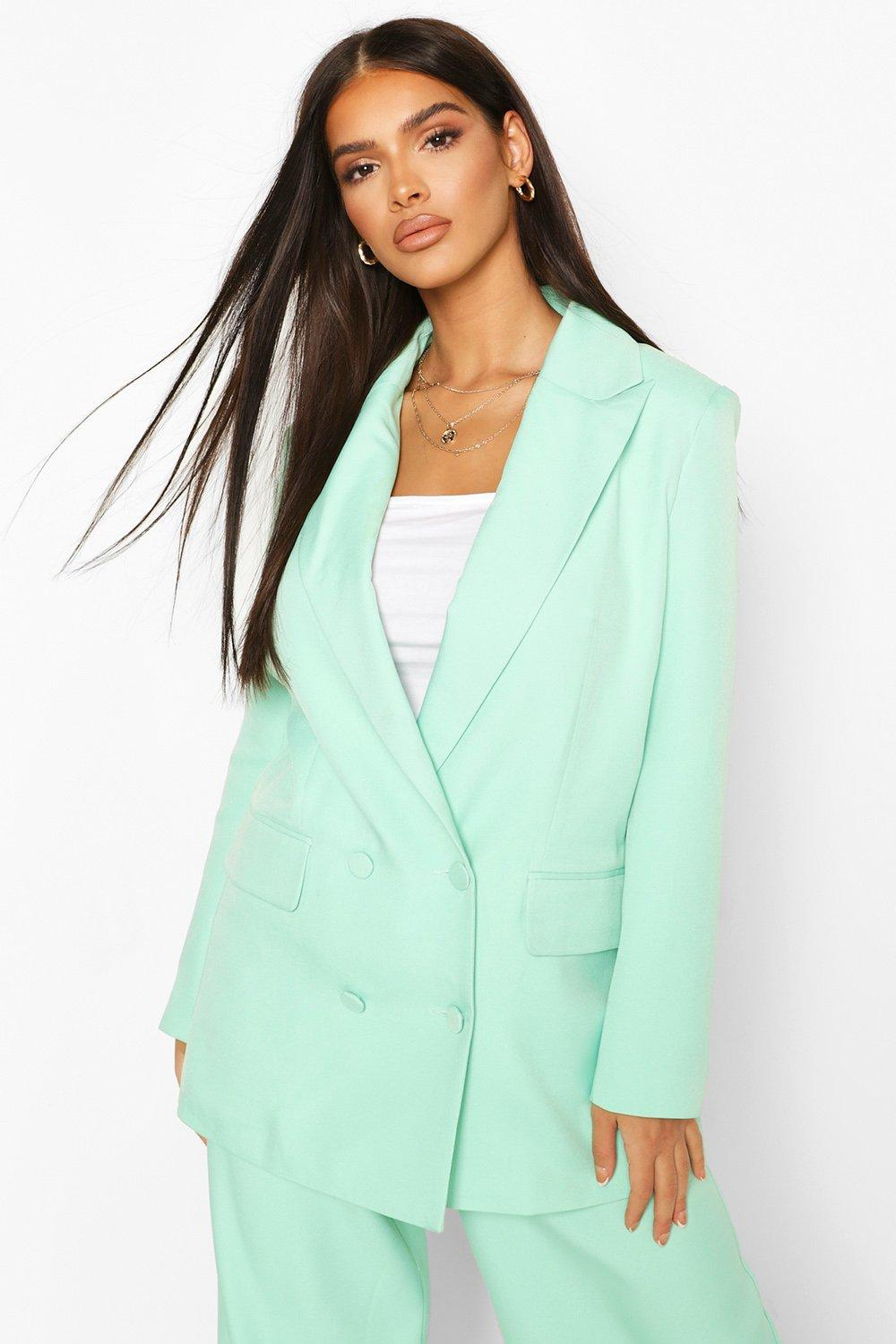 boohoo Womens Premium Double Breasted Blazer - Green - 12, Green