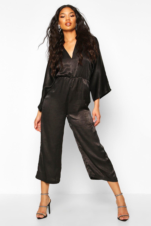 boohoo Womens Velvet Satin Kimono Sleeve Culotte Jumpsuit - Black - 12, Black