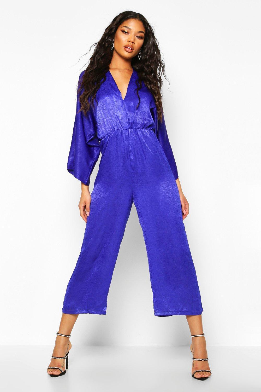 boohoo Womens Velvet Satin Kimono Sleeve Culotte Jumpsuit - Blue - 10, Blue