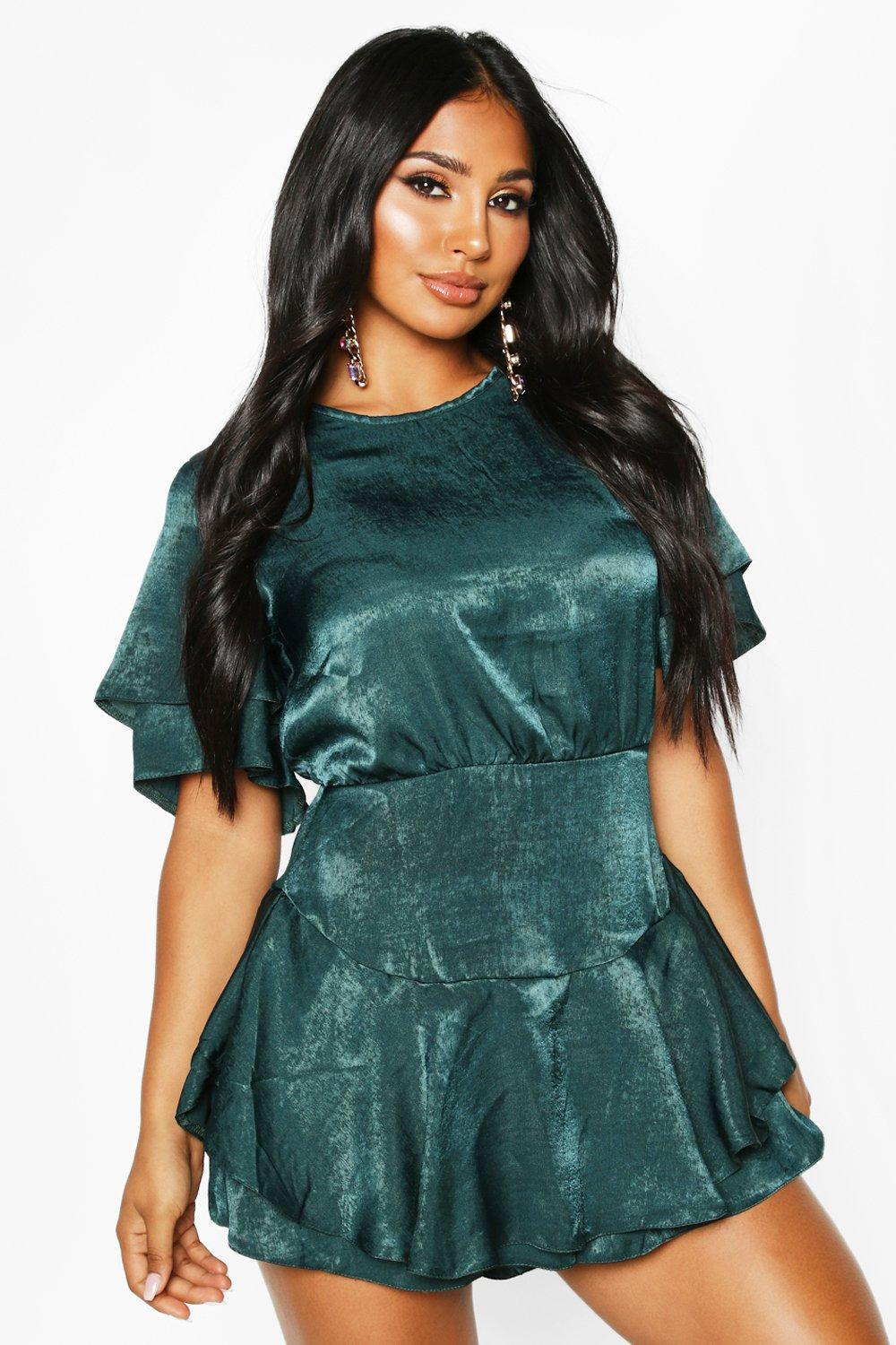 boohoo Womens Velvet Satin Ruffle Layer Dress Playsuit - Green - 8, Green