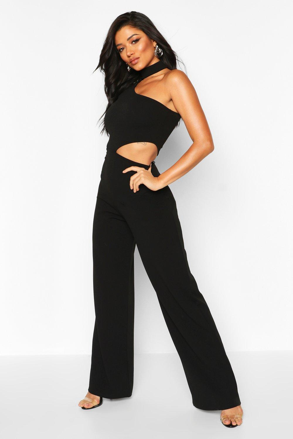 boohoo Womens One Shoulder Wide Leg Cut Side Jumpsuit - Black - 12, Black
