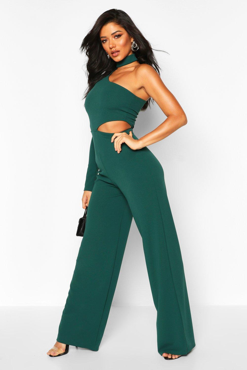 boohoo Womens One Shoulder Wide Leg Cut Side Jumpsuit - Green - 8, Green