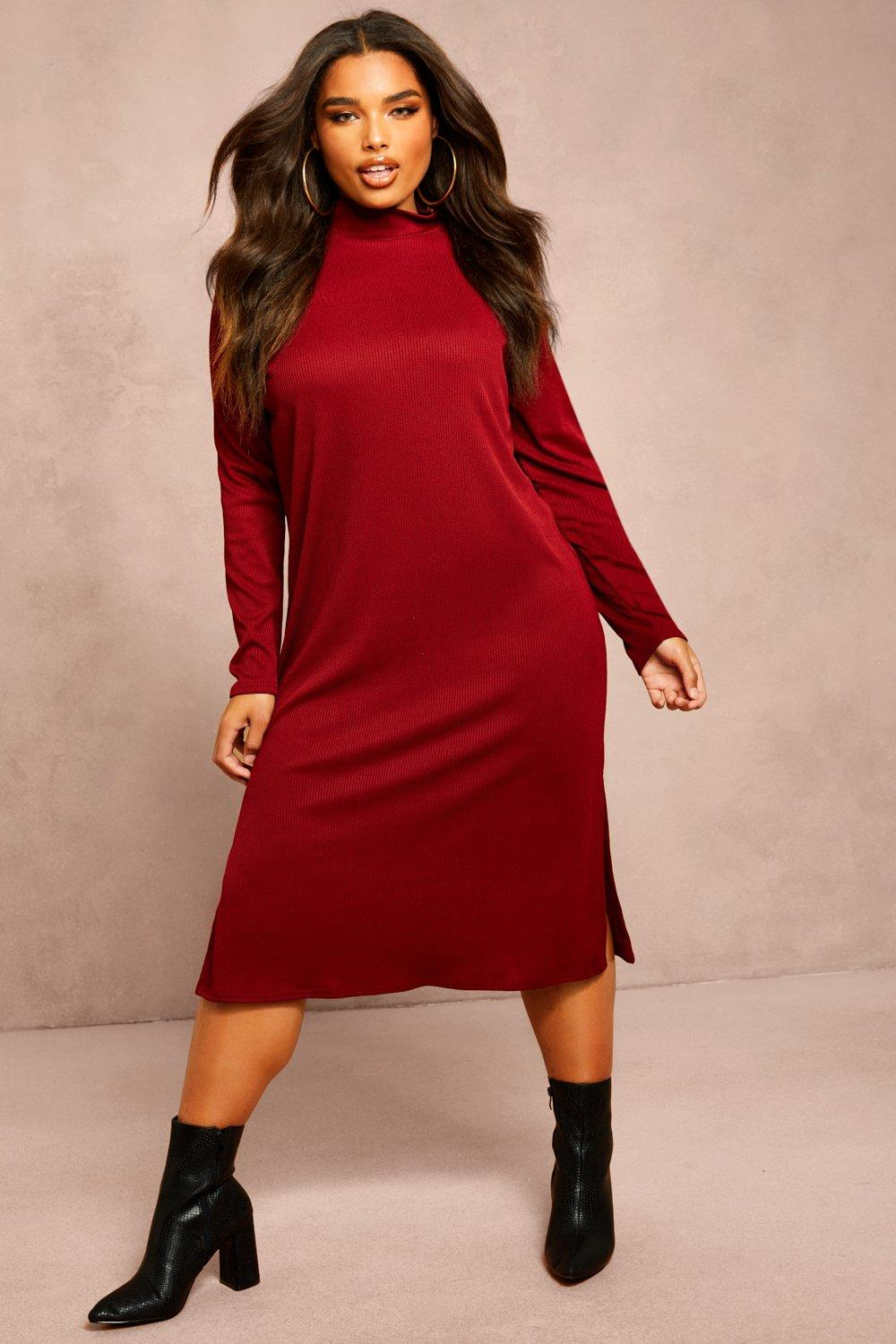 Recycled Roll Neck Rib Side Split Tunic