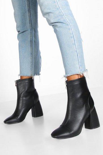 Black Zip Front Block Heel Shoe Boots