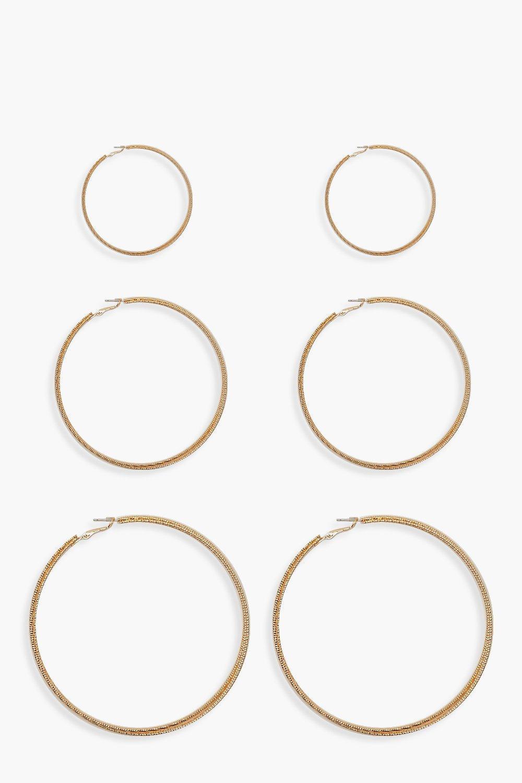 boohoo Womens 3 Pack Twist Hoop Earrings - Metallics - One Size, Metallics