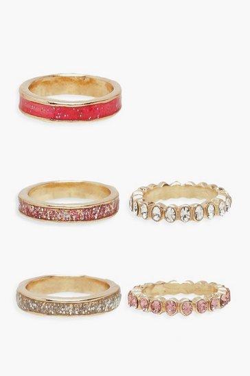 Pink Diamante & Texture Stacking Rings