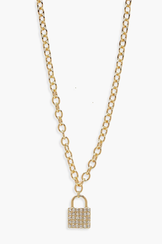 boohoo Womens Diamante Padlock Necklace - Metallics - One Size, Metallics