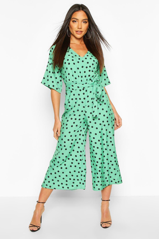 boohoo Womens Polka Dot Kimono Sleeve Jumpsuit - Green - 16, Green