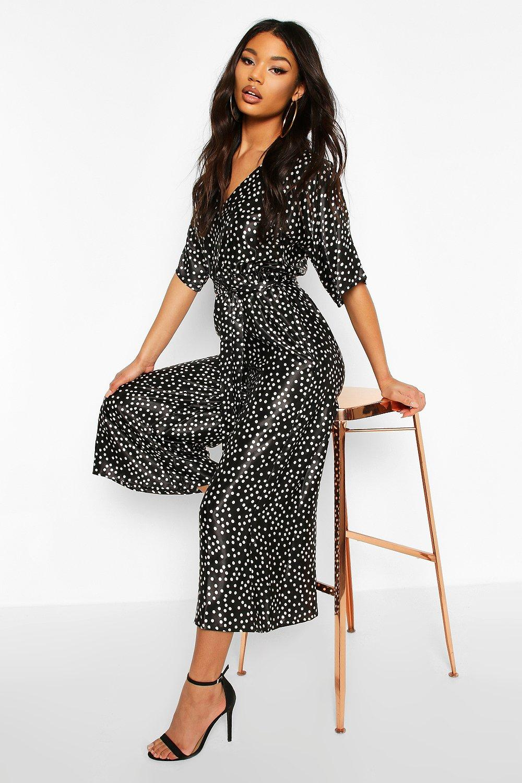 boohoo Womens Polka Dot Kimono Sleeve Belted Culotte Jumpsuit - Black - 12, Black
