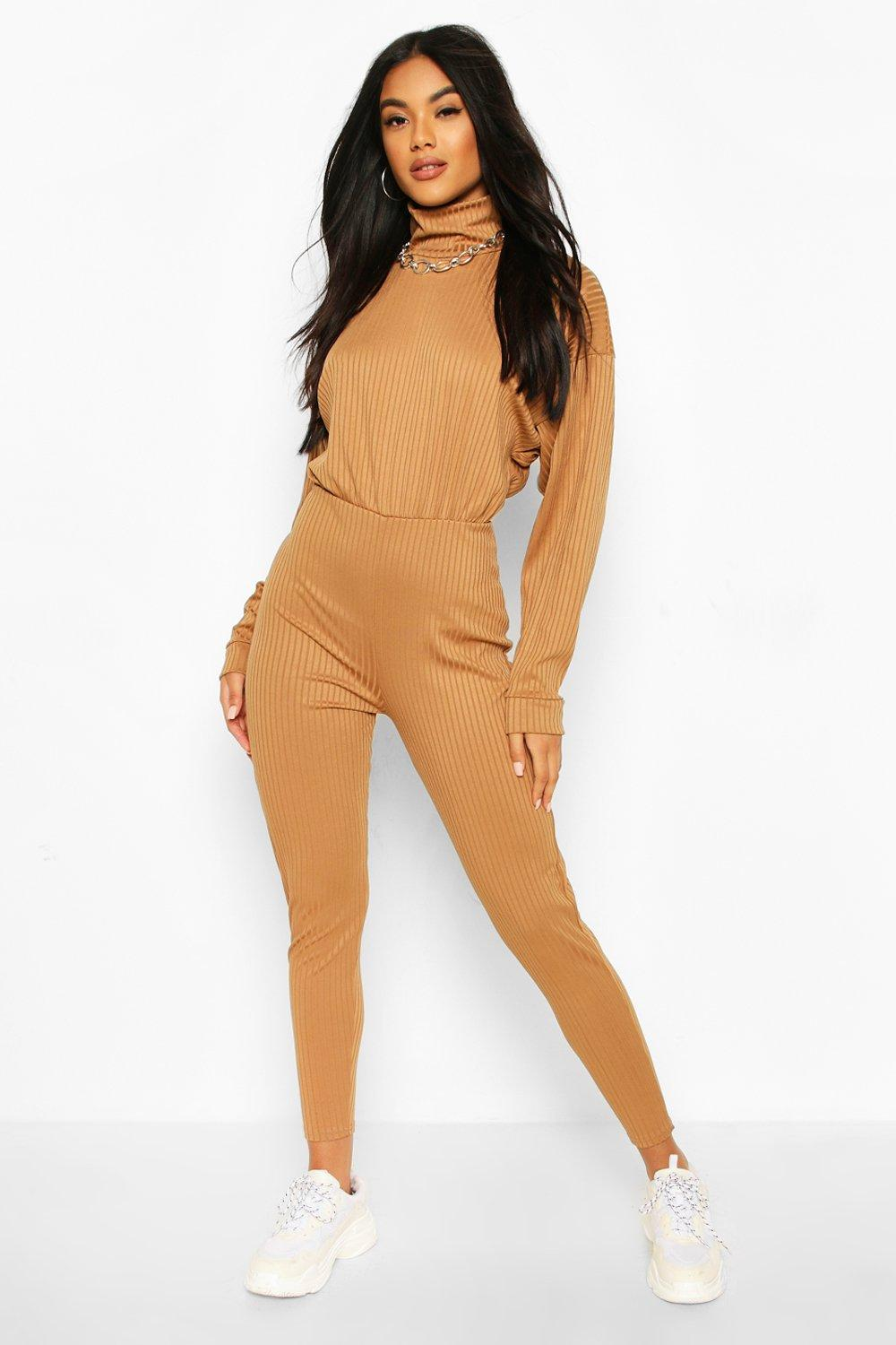 boohoo Womens Jumbo Rib High Neck Jumpsuit - Beige - 14, Beige