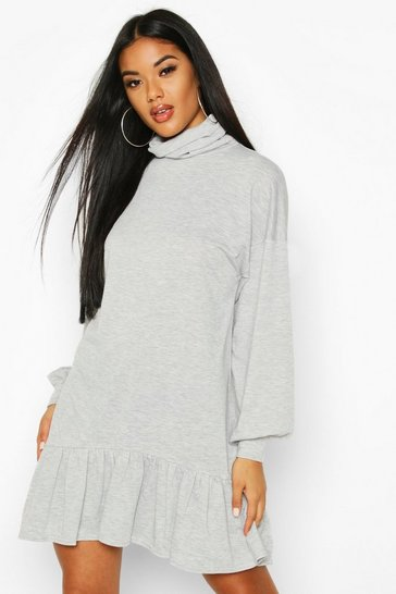Grey Roll Neck Drop Hem Sweatshirt Dress