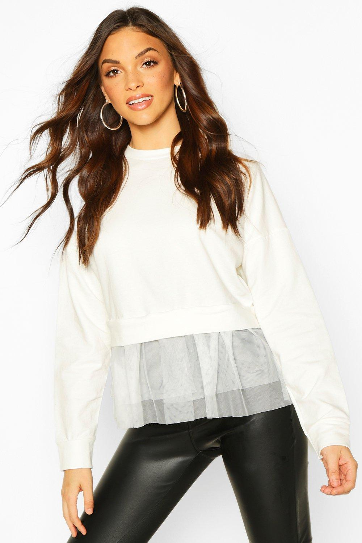 Womens Pullover mit Tüll-Saum - Weiß - S/M, Weiß - Boohoo.com