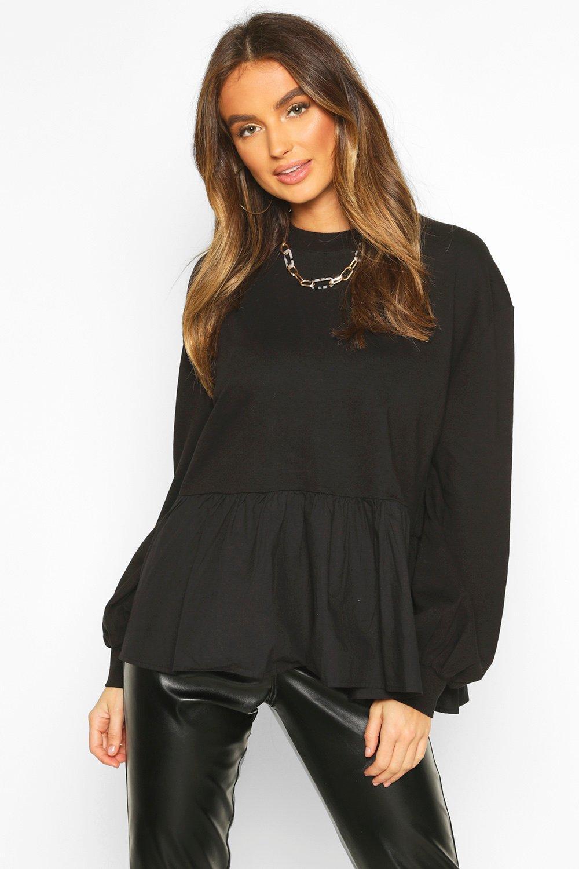 Womens Langärmeliges Pullover mit Schößchen - schwarz - 36, Schwarz - Boohoo.com