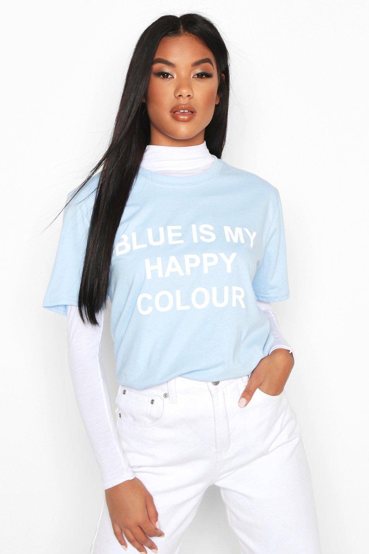 """Womens Charity T-Shirt mit """"My Happy Colour""""-Motiv - Blau - 10/12, Blau - Boohoo.com"""
