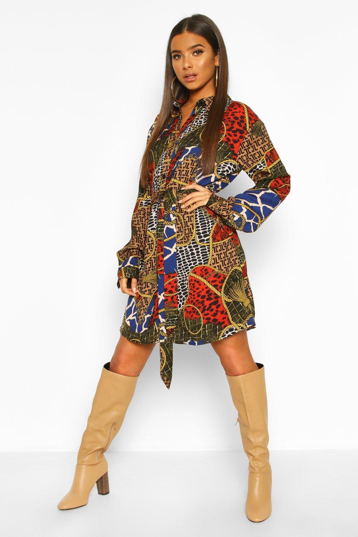 Womens Blusenkleid mit Barockmuster und Gürtel - khaki - 34, Khaki - Boohoo.com