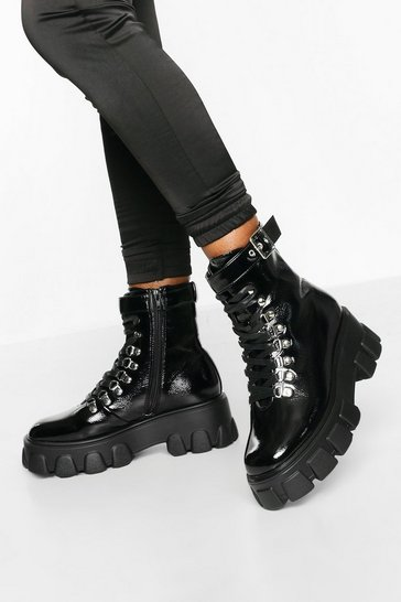 Black Belted Chunky Hiker Boots