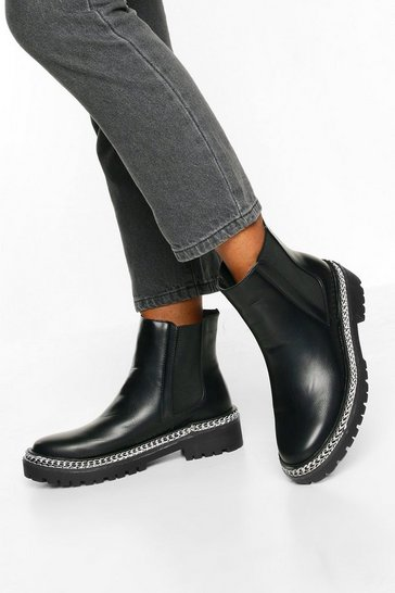 Black Chunky Chain Trim Chelsea Boots