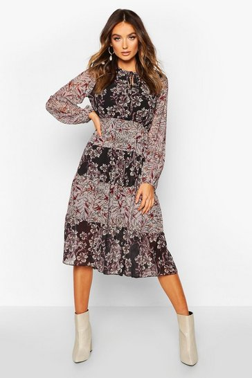 Black Chiffon Boho Print Midi Dress