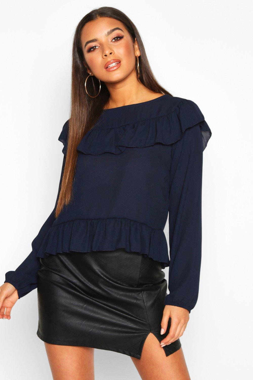 Womens Bluse mit Rüschen - marineblau - 38, Marineblau - Boohoo.com
