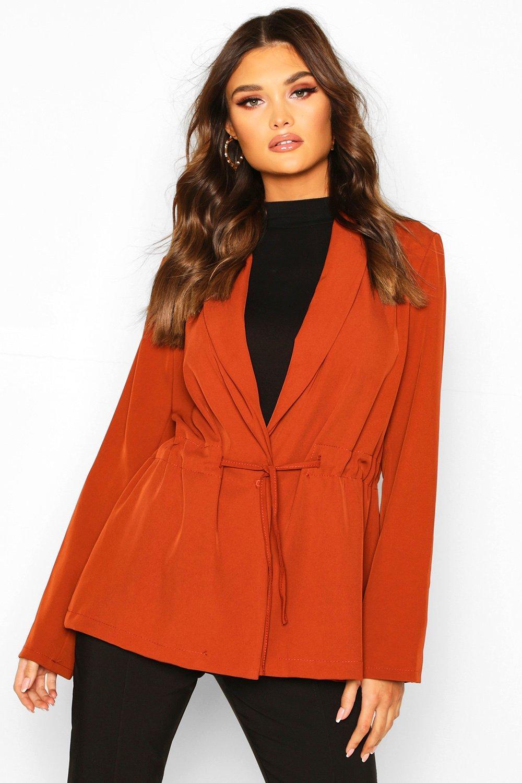 boohoo Womens Drawstring Slouchy Blazer - Orange - 10, Orange