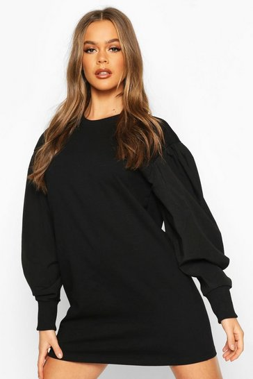 Black Oversized Puff Sleeve Sweatshirt Dress