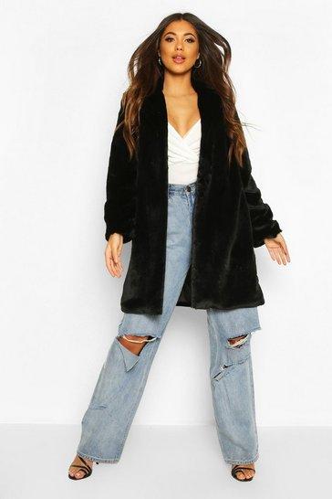 Black Luxe Faux Fur Coat