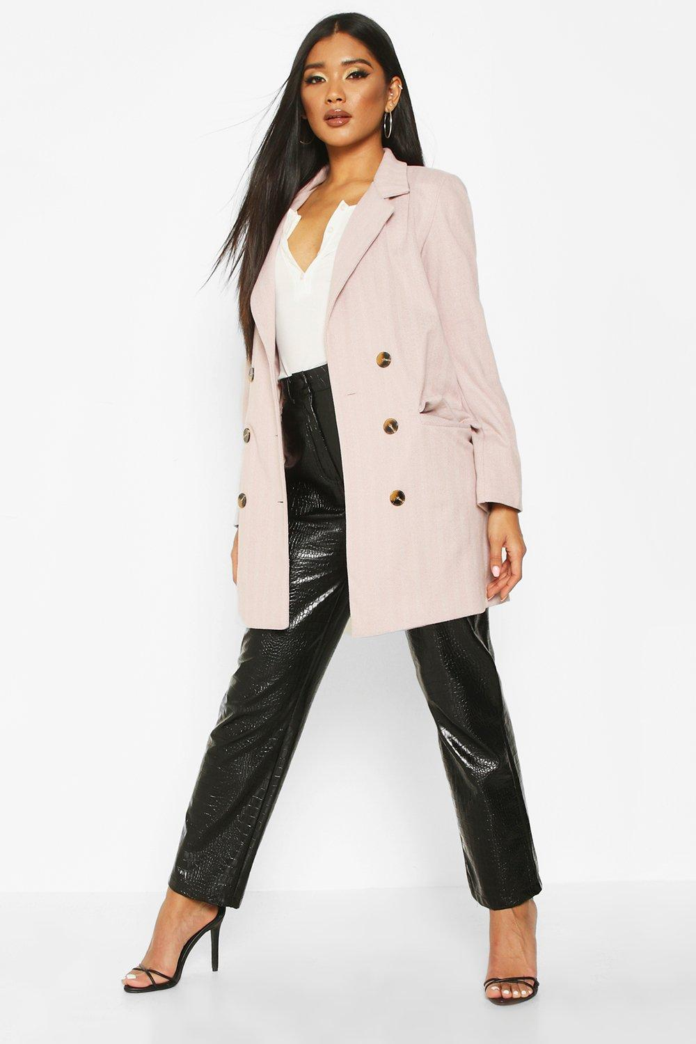 boohoo Womens Herringbone Double Breasted Wool Look Coat - Pink - 12, Pink
