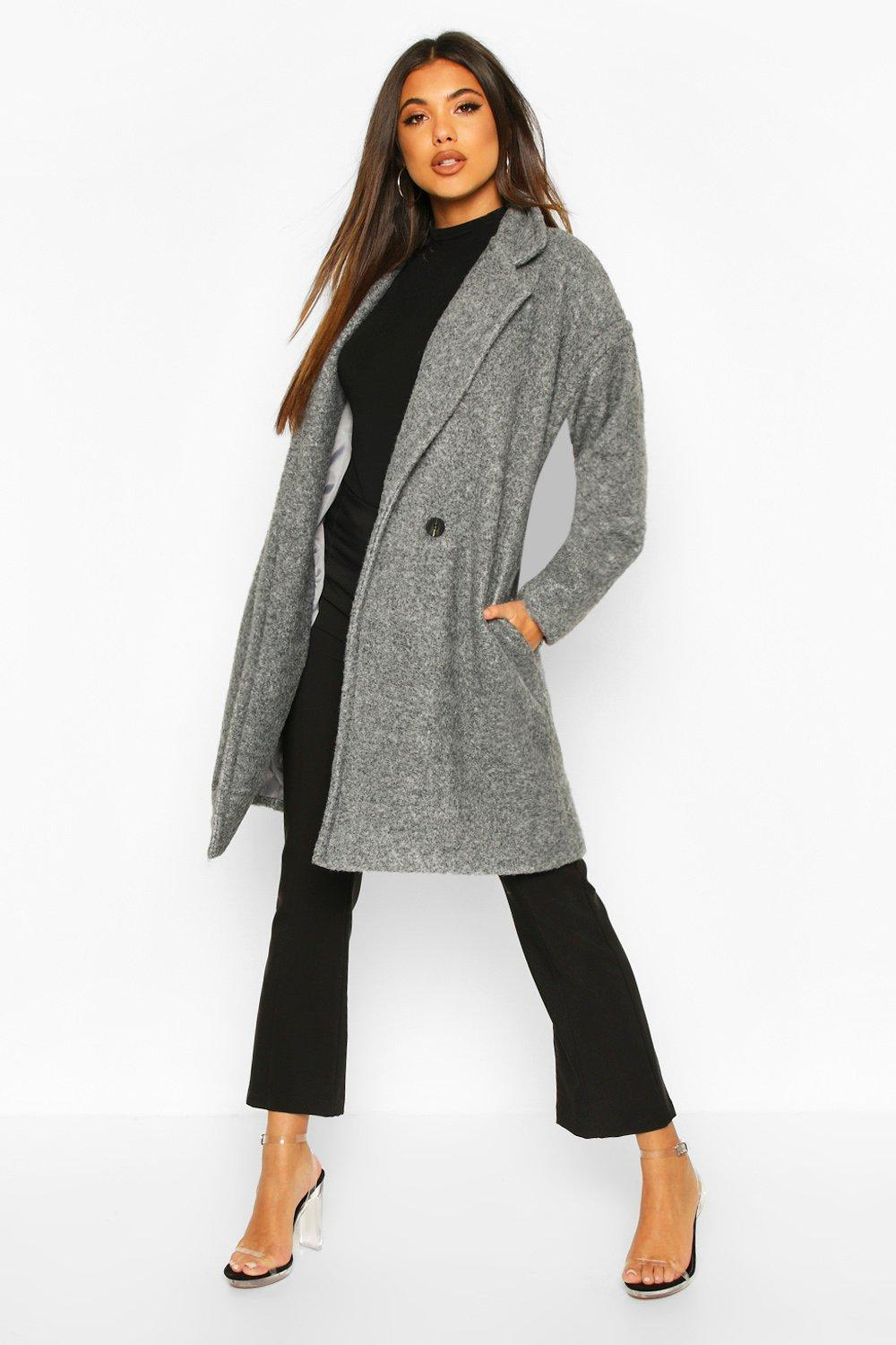boohoo Womens Luxe Brushed Wool Look Button Through Coat - Grey - 8, Grey